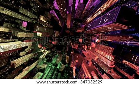 Modern City Lit by Colorful Light Effects at Night 3D Illustration. Concept to any big modern city with the New Year's Eve vivid atmosphere. - stock photo