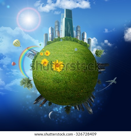 Modern city on earth on blue sky background