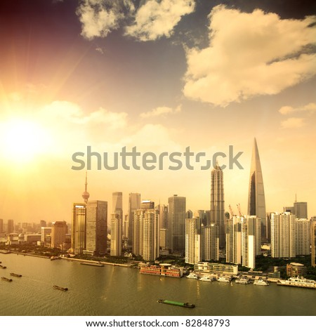 modern city -shanghai - stock photo