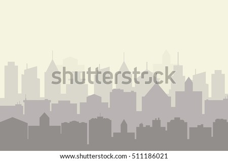 Modern City skyline . city silhouette. illustration in flat design. city landscape. Cityscape backgrounds. City at Early Morning Raster version
