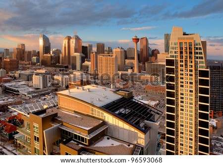 Modern City Skyline. Downtown of Calgary, Alberta - one of the cities with the most rapid growth in North America. - stock photo