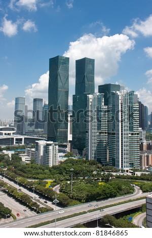 Modern City skyline with highway, China - stock photo