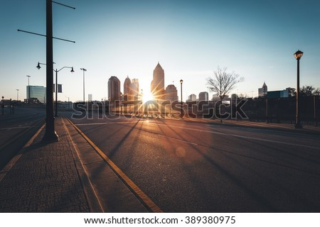 Modern city street at sunny morning, Atlanta, Georgia, USA - stock photo