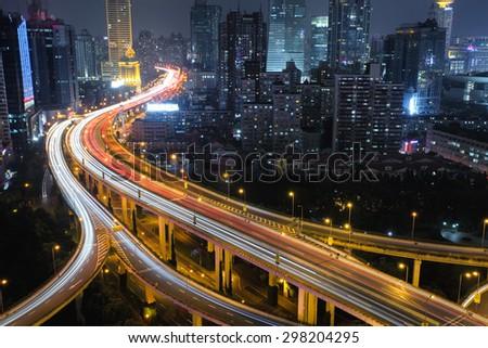 Modern city traffic road night. Aerial Transport road junction.  - stock photo