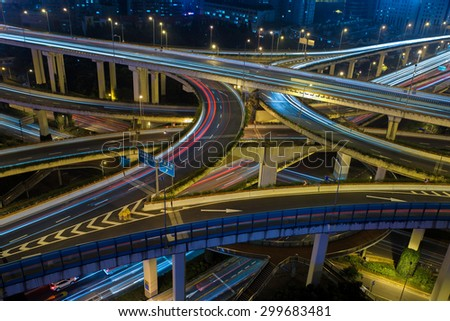 Modern city traffic road night. Aerial Transport road junction. - stock photo