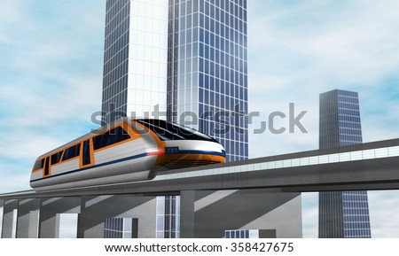 Modern city transport. Concept of magnetic levitation train moving on the skyway. 3d rendering illustration. - stock photo