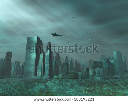 Modern city under the sea - stock photo