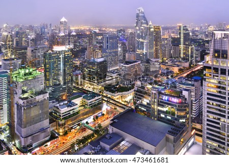 Modern city view district area of Bangkok, Thailand.