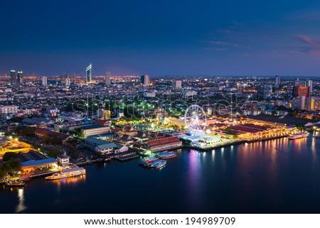 Modern city view of Bangkok city scape at nighttime - stock photo