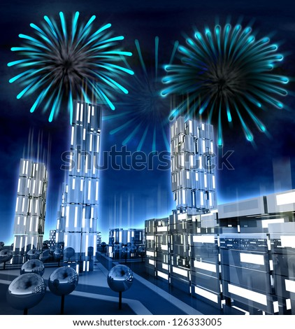 Modern city with alighted windows with amazing fire show illustration - stock photo