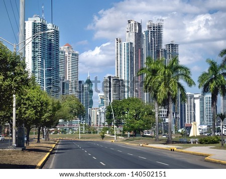 Modern city with high skyscrapers and the empty road - Panama City - stock photo