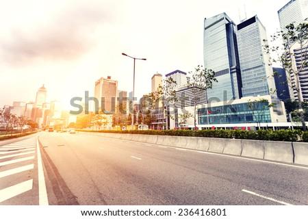 modern cityscape and road of Hongkong - stock photo