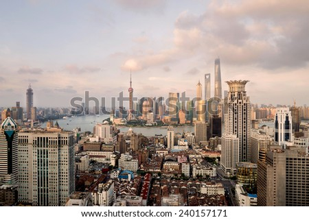 modern cityscape and traffics during daytime,shanghai - stock photo