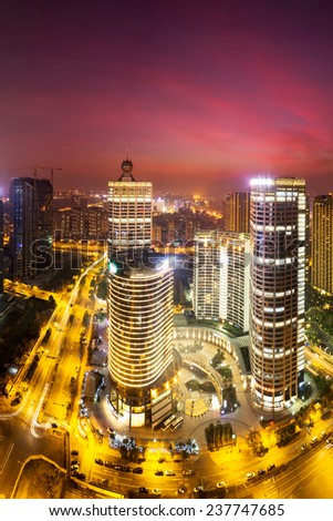 modern cityscape and traffics during night - stock photo