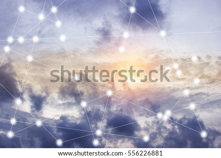 modern cityscape and wireless sensor network, sensor node and connecting line, ICT (information communication technology), internet of things, abstract image visual, white space empty.