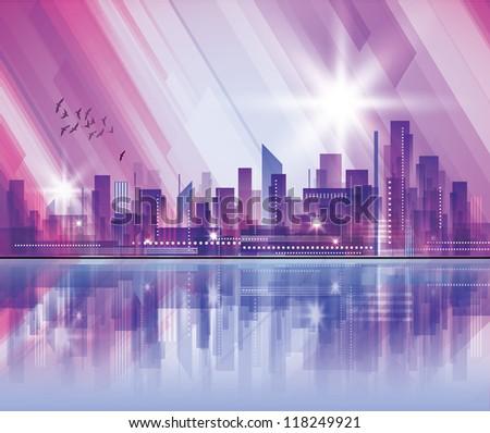 Modern cityscape concept background. Raster version - stock photo