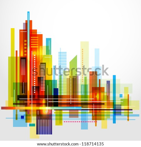 Modern cityscape concept background. Raster version - stock photo