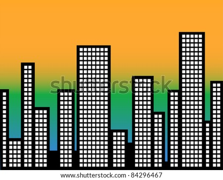 Modern Cityscape Illustration - High Resolution JPEG Version. (vector version also available). - stock photo