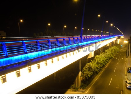 modern ciyg night traffic trail in Guangzhou, China