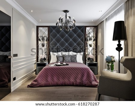 modern classic art deco bedroom interior stock illustration 618270287 shutterstock. Black Bedroom Furniture Sets. Home Design Ideas