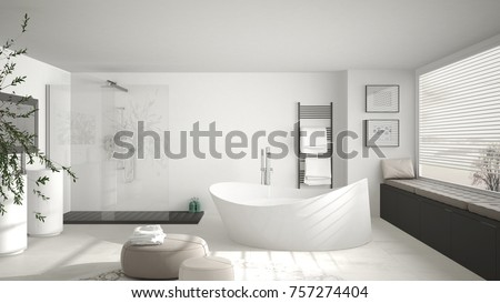 modern classic bathroom with big round carpet large panoramic window minimalistic white and gray