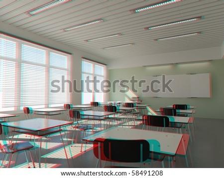 3d Fußboden Lehrgang ~ Modern classroom interior stereo anaglyph effect stockillustration