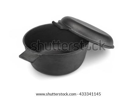 Modern Clean Classic Cast Iron Dutch Oven Or Pot With Pan Cover Isolated On White Background, Close Up, Top View, Horizontal Image, Studio Shot