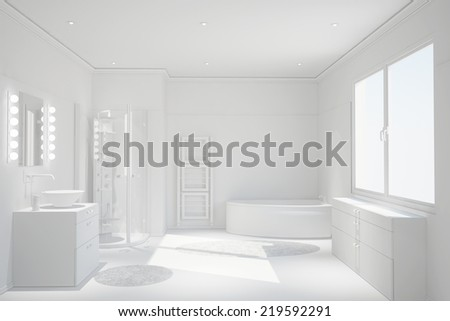 Modern clean white bathroom with shower and bathtub - stock photo
