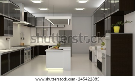 Modern clean white kitchen with center nook. 3D rendering.  - stock photo