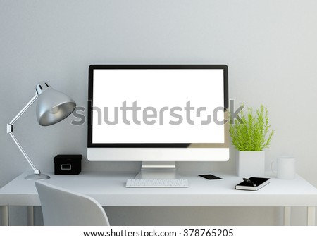modern clean workspace mockup with blank screen. 3D illustration. - stock photo