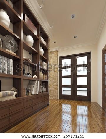 Modern closet in the hallway. 3d render - stock photo