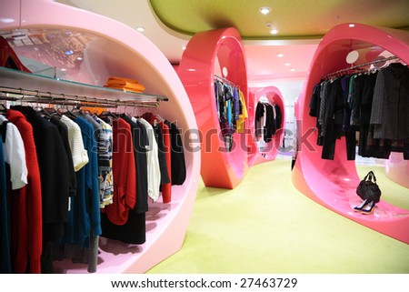 Modern clothes shop - stock photo