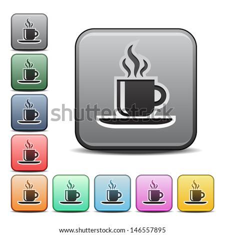 Modern Coffee Icon with Color Variations.  Raster version, vector also available. - stock photo