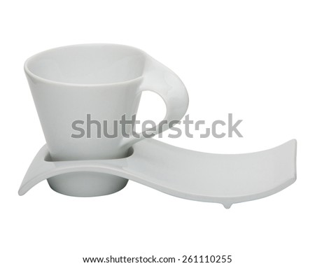Modern coffee or tea cup with saucer isolated on white background - stock photo