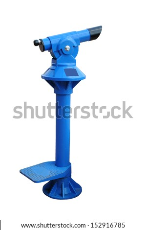 Modern coin telescope in a viewpoint on white background  - stock photo
