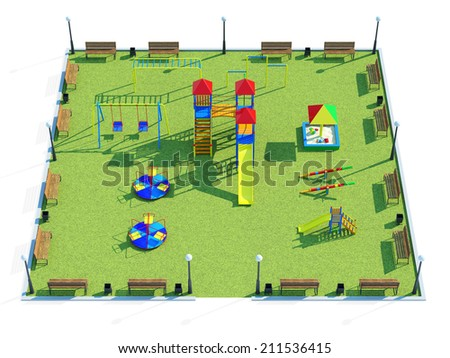 Modern Colorful Children's Playground Isolated on white background - stock photo
