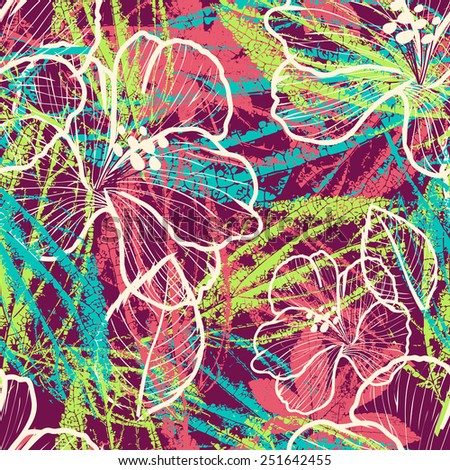 modern colorful floral seamless pattern with leaves prints elements - stock photo