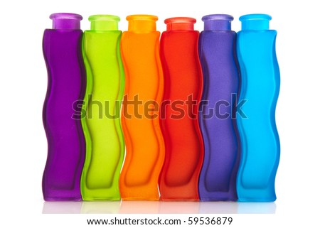 Modern colorful glass vases isolated over white