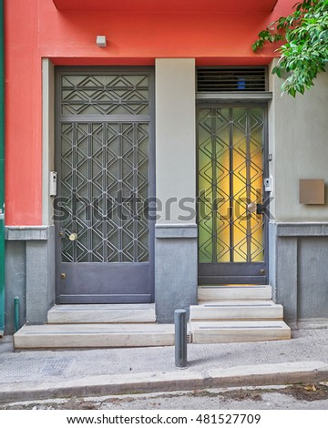 modern colorful house entrance, Athens Greece