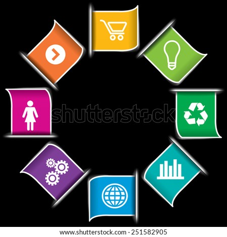 Modern Colorful Infographic icon Banners - stock photo