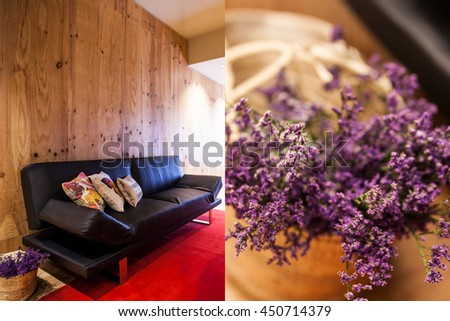 modern colorful living room with flowers - stock photo