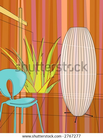 Modern, colorful stylized motif of chair, lamp and aloe vera in a modern home atrium. - stock photo