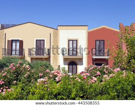 Modern, colorful summer holiday terraced houses with balconies, shutter windows, garden with flowering pink roses, olive trees, evergreen plants