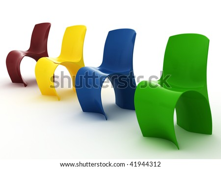 Modern Colorized Chairs isolated on white - stock photo