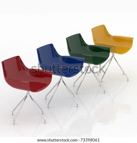 modern colorized chairs isolated on white background - stock photo