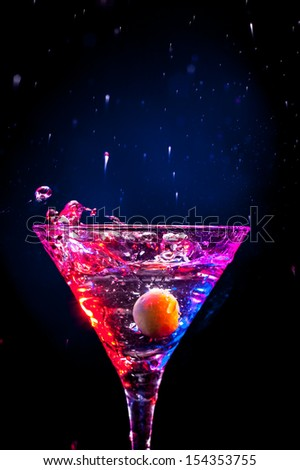 modern colourful coctail on the black background - stock photo