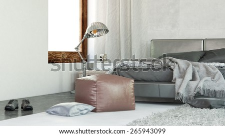 Modern comfortable bedroom interior with rumpled linen on the bed, shoes on the floor and a brown leather ottoman at the foot of the bed. 3d Rendering