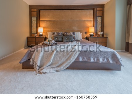 Modern comfortable, nicely decorated, elegant luxury master bedroom. Interior design. - stock photo