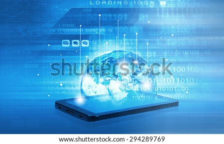 Modern communication technology concept with mobile phone on high tech background - stock photo