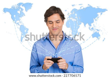 Modern communication technology mobile phone high tech, wide web connection concept. Business man holding smartphone connected browsing internet worldwide world map background. 4g data plan provider - stock photo